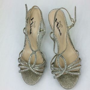 """Touch of Nina silver sparkle open toe 4""""heels"""